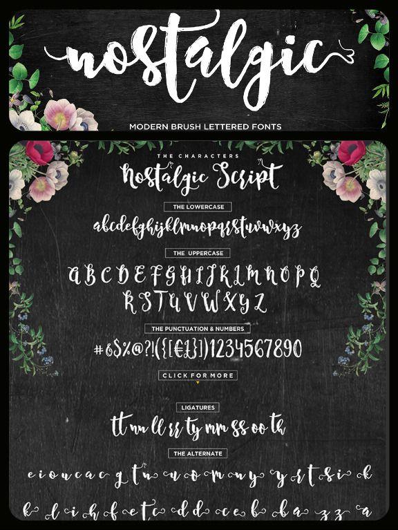 Nostalgic Script Brush Font Nostalgic Wedding Fonts