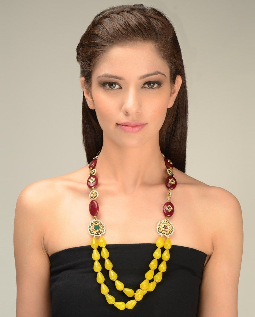 Maroon and Yellow Beaded Necklace  by Just Jewellery