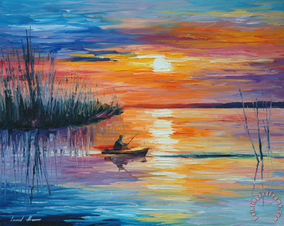 Lake okeechobee sunset fishing painting by collection 1 for Watercolor fish painting