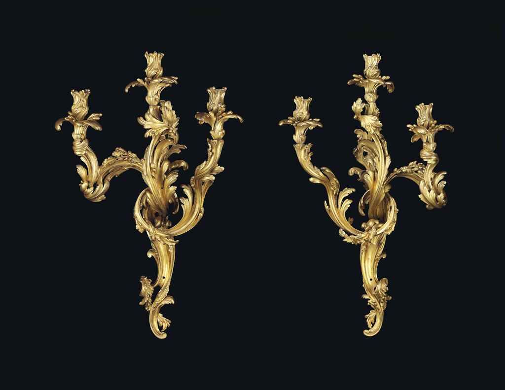 RIAHI COLLECTION | PAIR OF LOUIS XV ORMOLU THREE-BRANCH WALL-LIGHTS , ATTRIBUTED TO ...