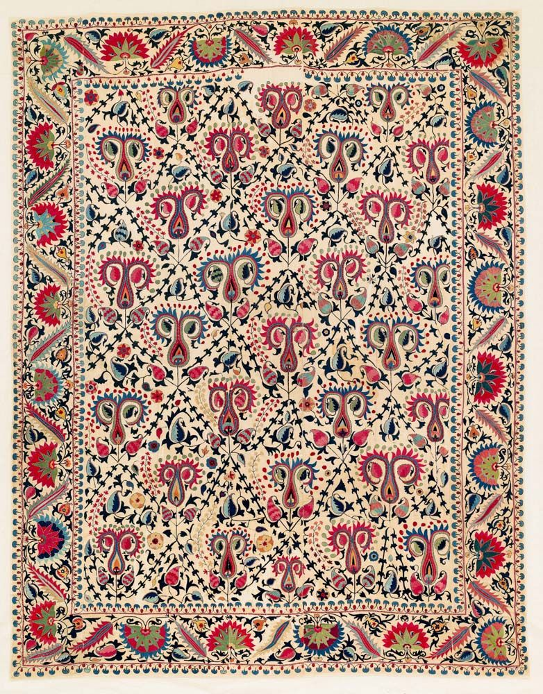 Lakai Suzani, Central Asia, Uzbekistan, Shakhrisyabz, 282 x 220 cm, First half 19th century or earlier