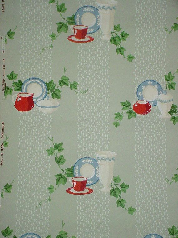 Vintage Jadite Jadeite Fiesta Wallpaper Kitchy Kitchen Vogue Papers