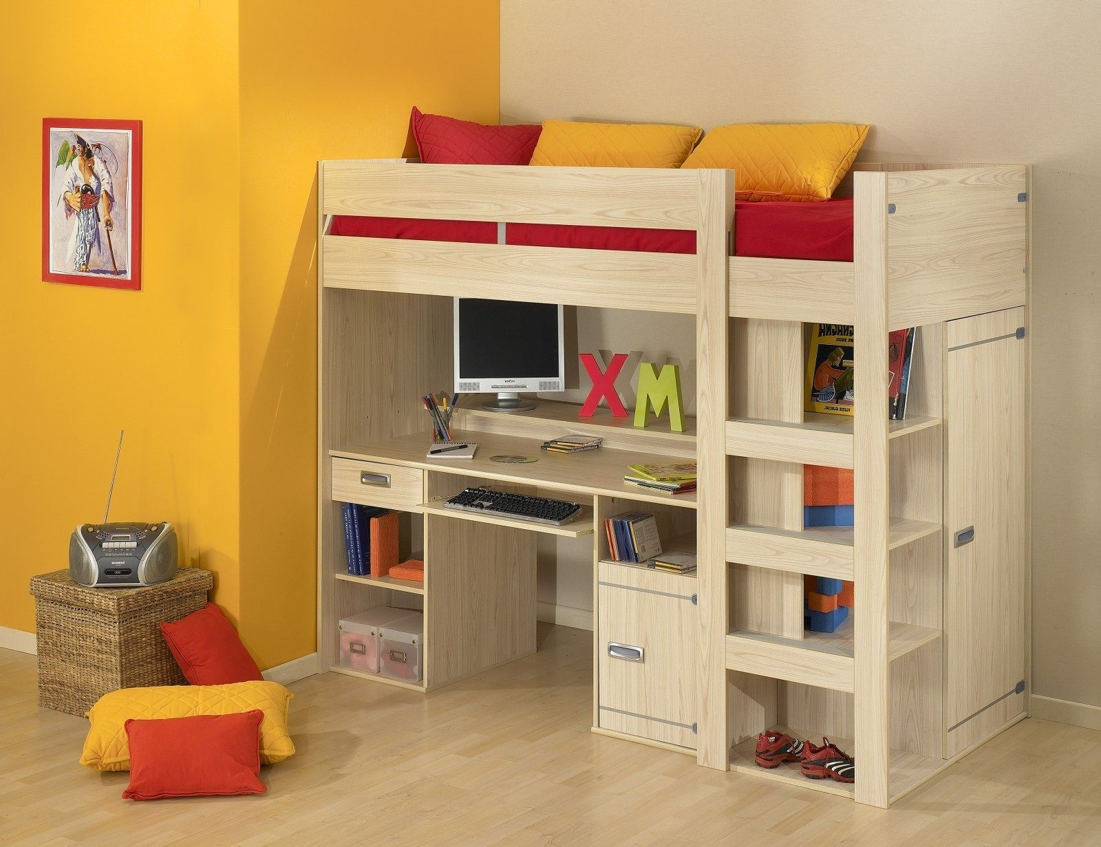 Uncategorized Kids Loft Bed With Desk Underneath outstanding bunk bed with table underneath furniture pinterest loft desk trundle one might believe that attics beds are only for children depending on an individual taste to sleep