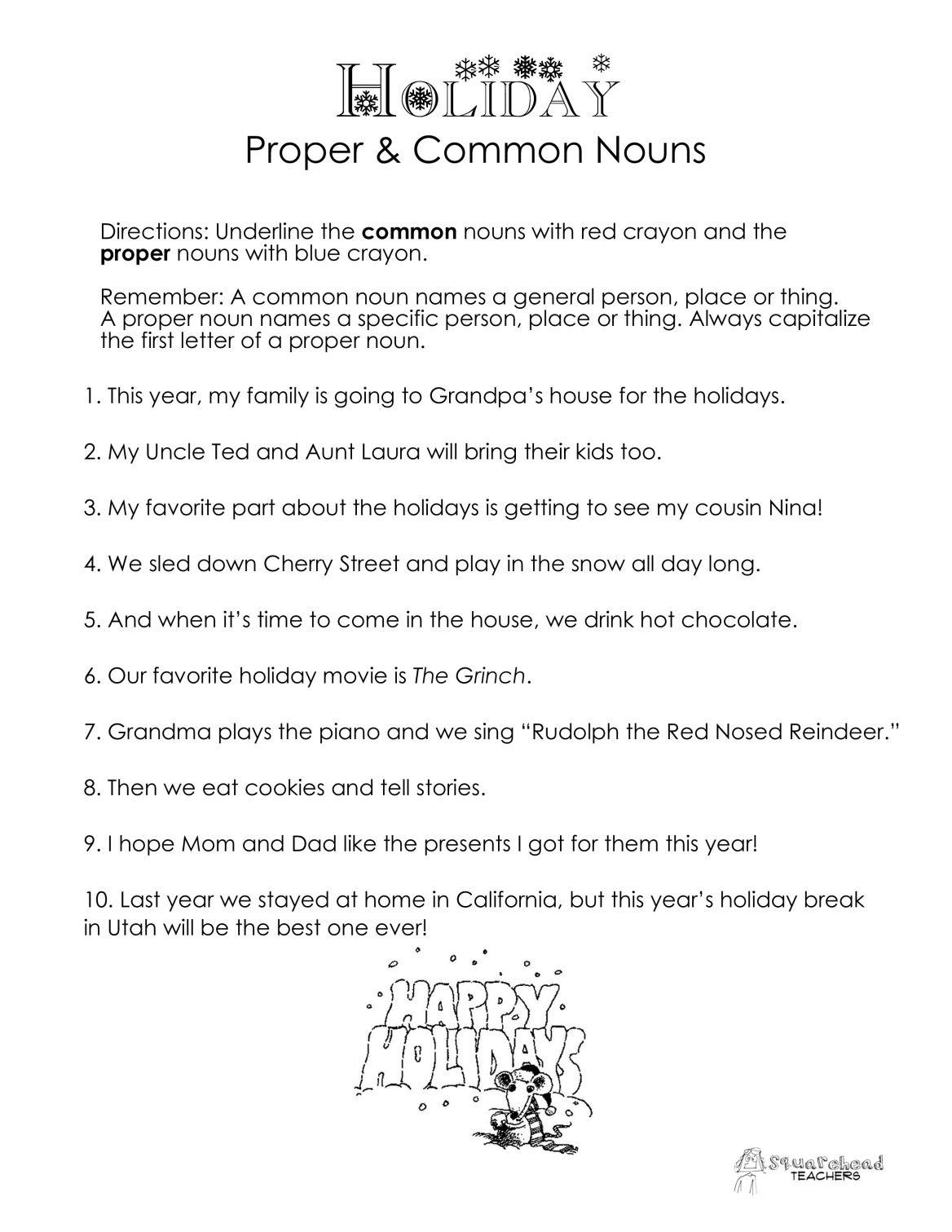 Common Vs Proper Nouns Christmas Winter Holidays