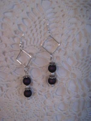 3inch dangle handmade Earrings purple