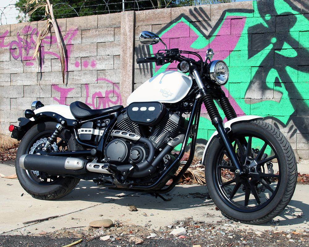 The 2014 yamaha star xvs950 bolt and xvs950r bolt r spec motorcycles are powered by