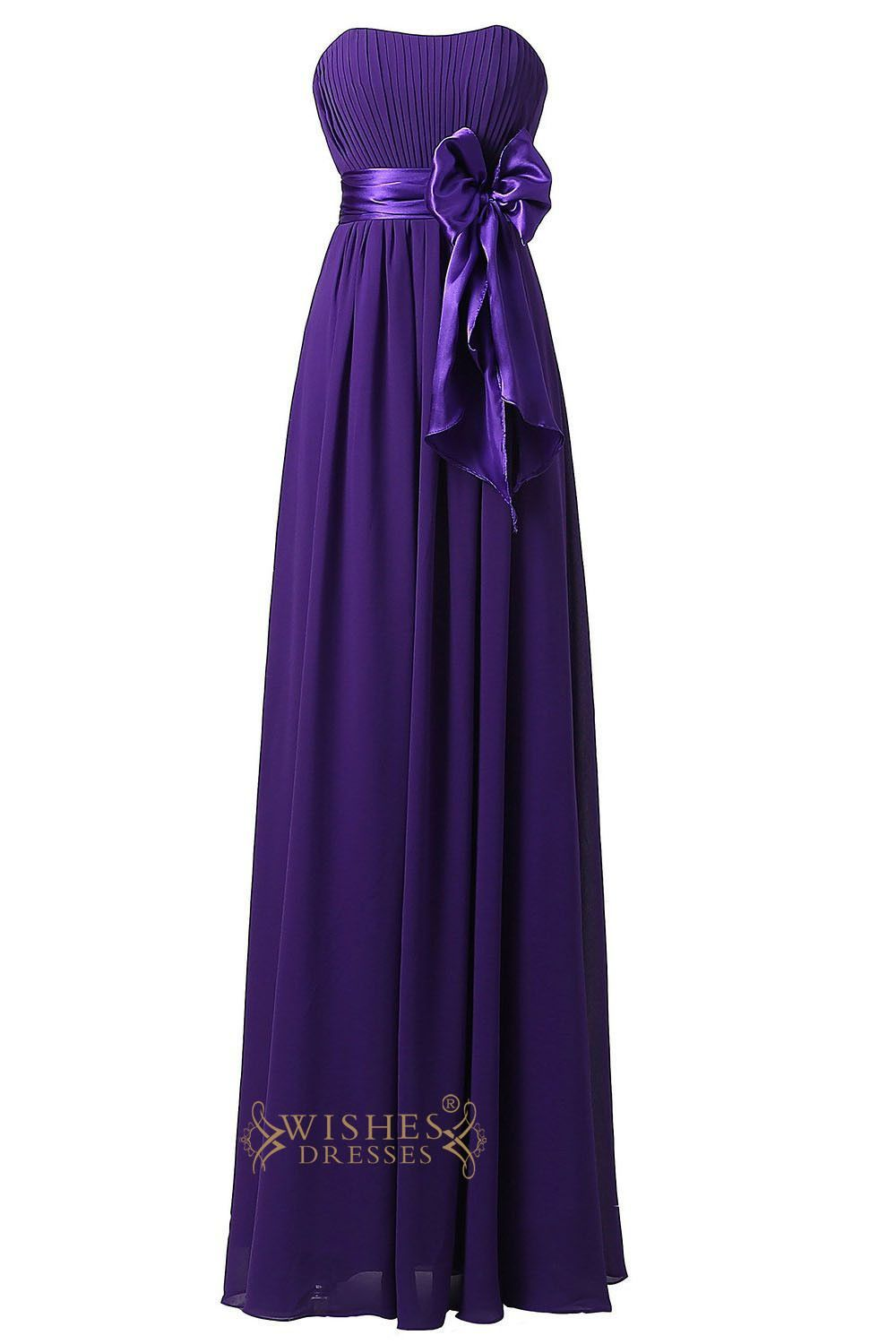Purple Strapless Sweetheart Floor Length Bridesmaid Dress With ...
