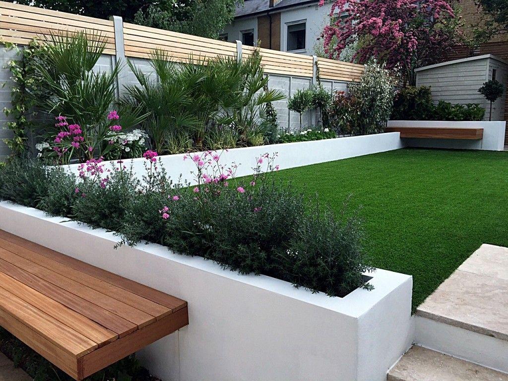 Gartenideen · Modern Garden Design Fulham Chelsea Clapham Grass Travertine  Paving Peckham