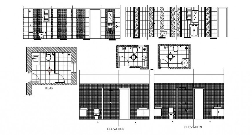 House toilets elevation, section, plan and installation cad