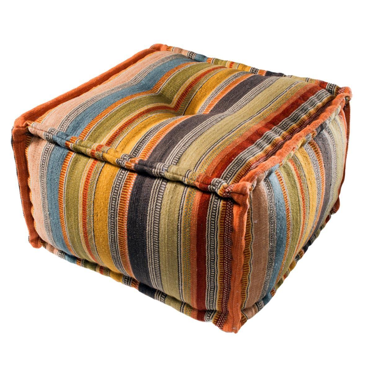 Ooty Stripe Wool Kilim Pouffe Square Pouffe Kilim Dead Gorgeous