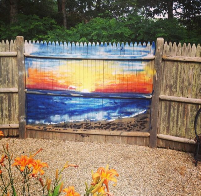 Outdoor Murals For Fences.Outdoor Fence Mural By Wldr Sunset Fence Art Patio Fence
