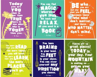 Dr Seuss Quotes Dr Seuss Wall Art Set Playroom Print Set