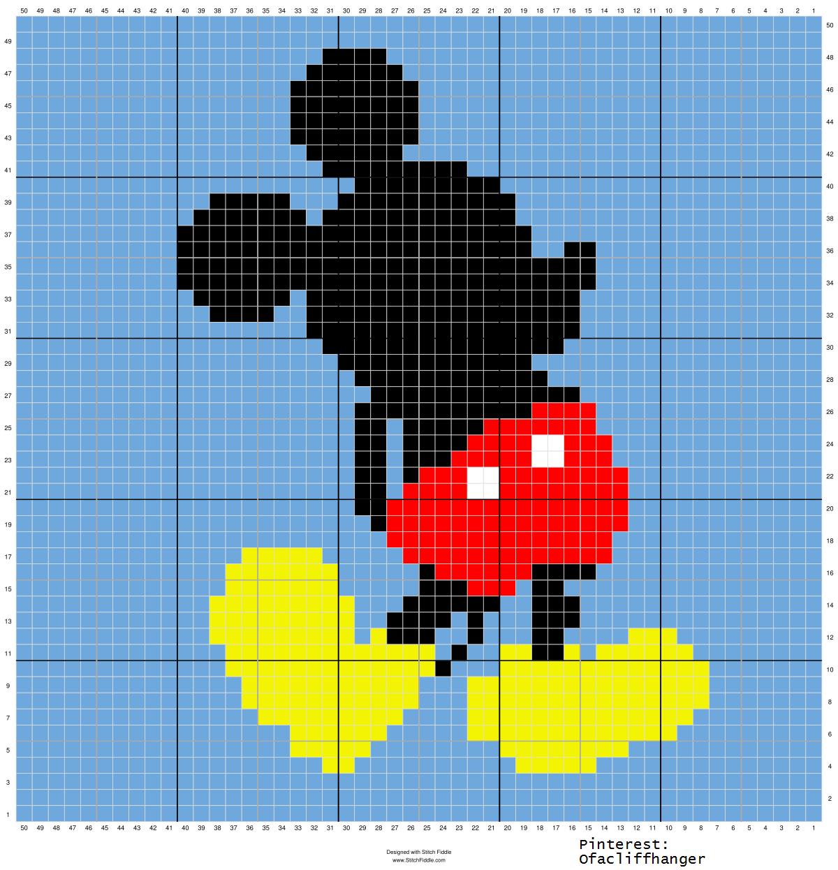 Mickey Mouse 50x50 Crochet Graph Pattern Work Single Diagram Graphgan Disney Inspired Pixel Art