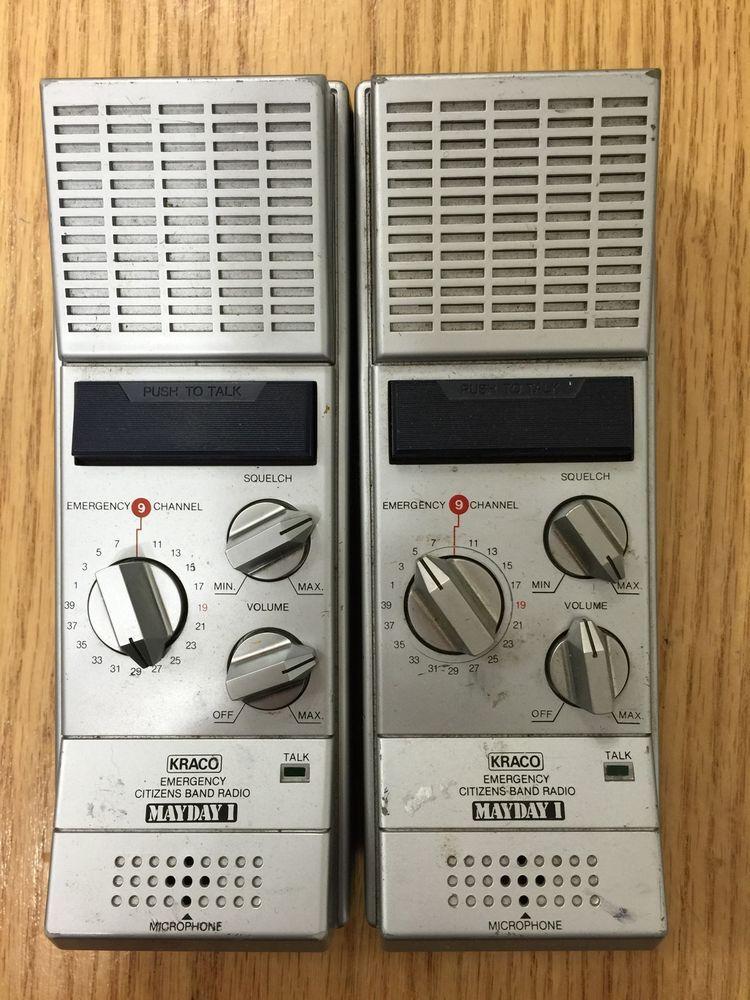 set of 2 kraco emergency citizen band radios mayday 1 handheld cb - kraco  cb radio