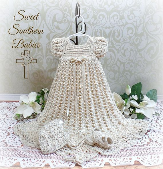 Baby Girls Silk Crochet Baptism / Christening / Blessing Dress ...