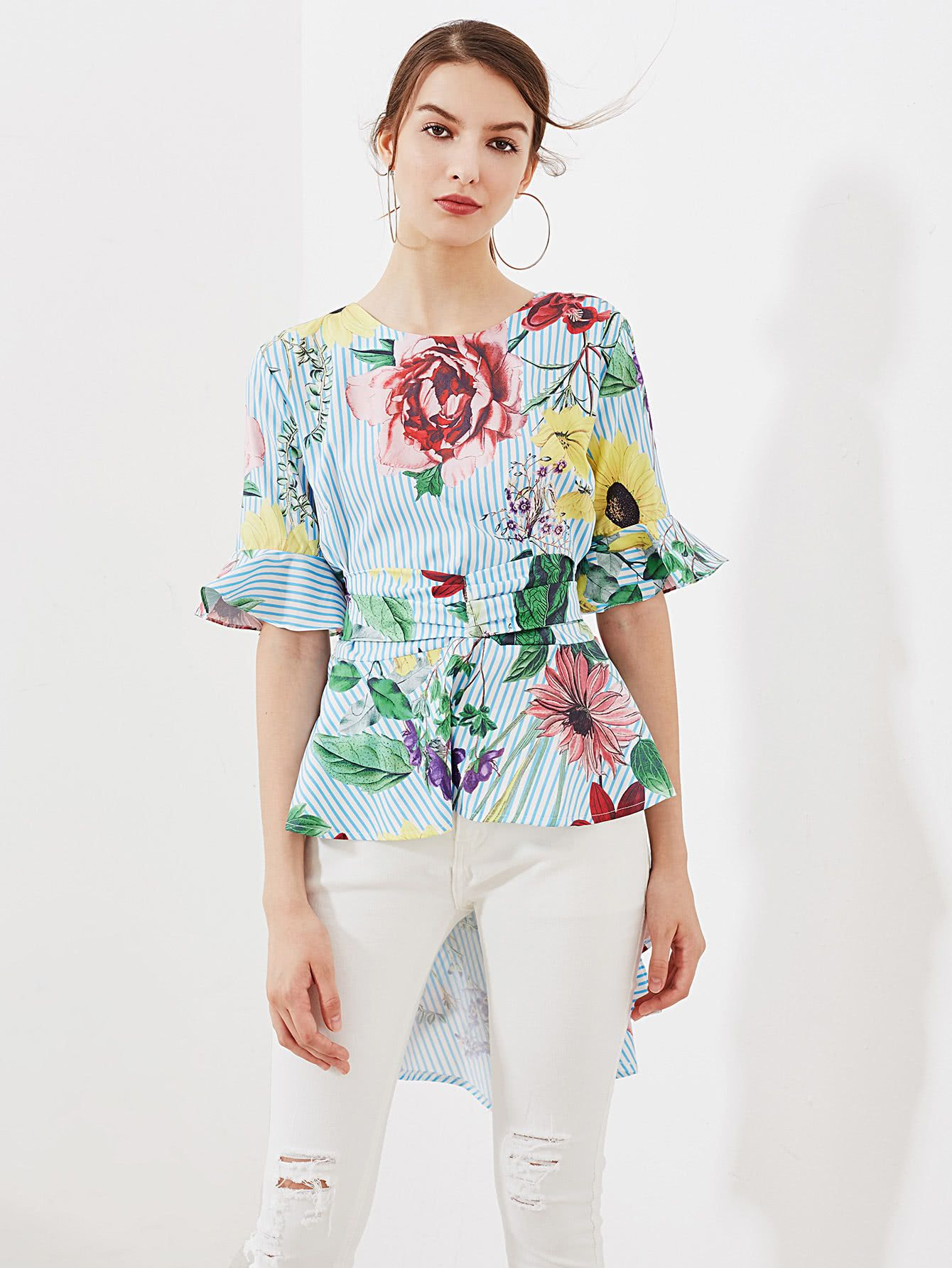 Random Tropical Print Tie Back Frill Blouse -SheIn(Sheinside)