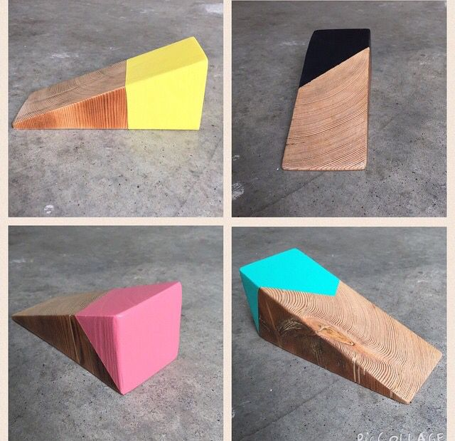 A Little Dab Of Paint Transforms Scrap Wood Into A Doorstop Rustic Wood Projects Wooden Door Stops Wood Pallet Projects