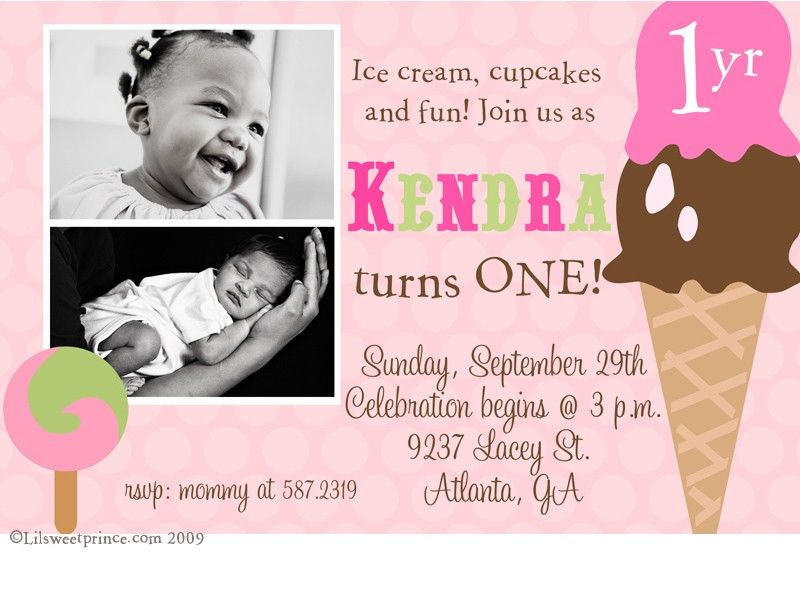 1 Year Old Girls Ice Cream Party Invitation So Cute