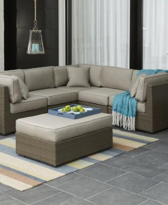 South Harbor Outdoor 5-Pc. Modular Seating Set (2 Corner Units, 2 Armless Units and 1 Ottoman) - Furniture - Macy's