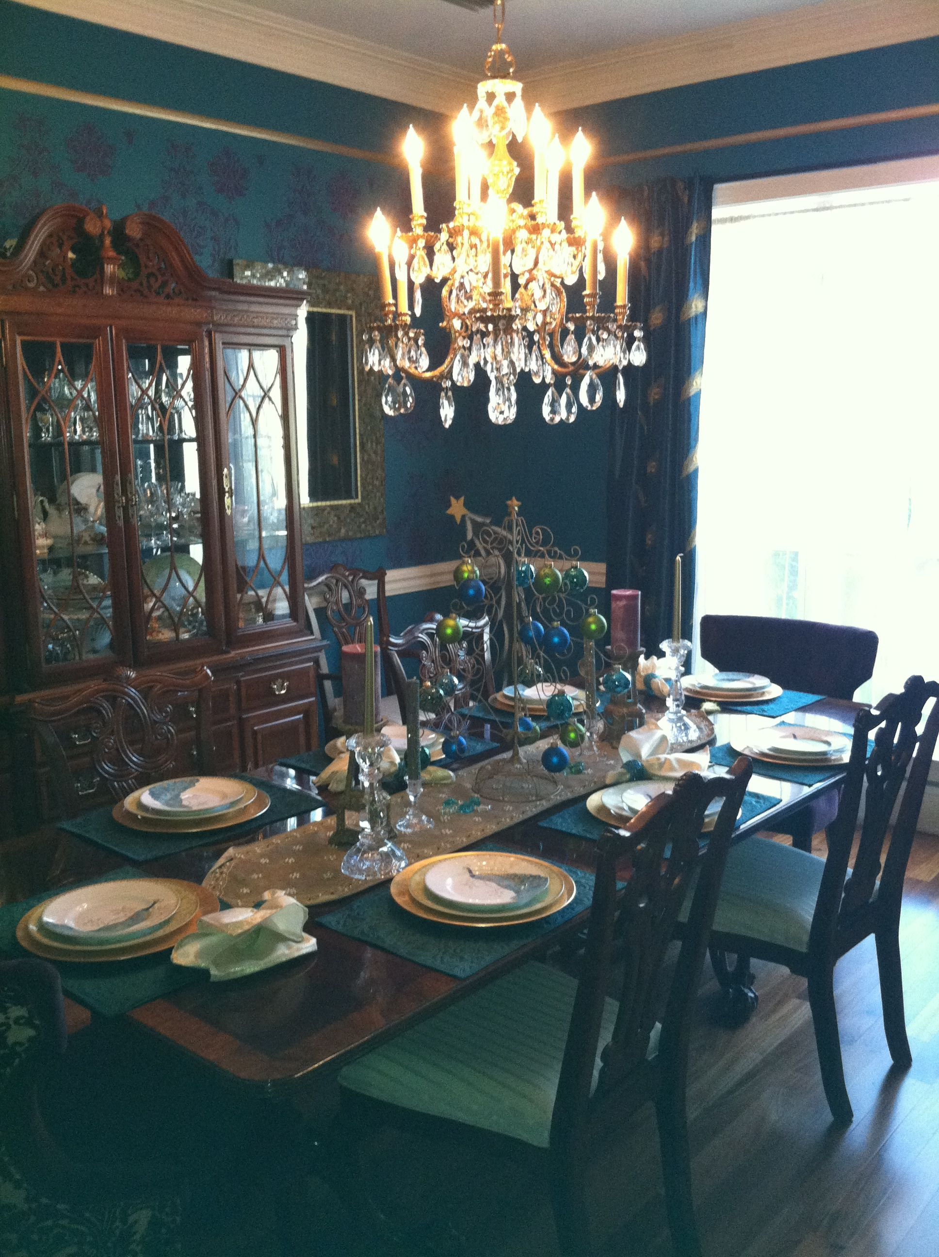 Pin By Jackie Barker On For The Home Peacock Dining Room Mirror Dining Room Turquoise Dining Room