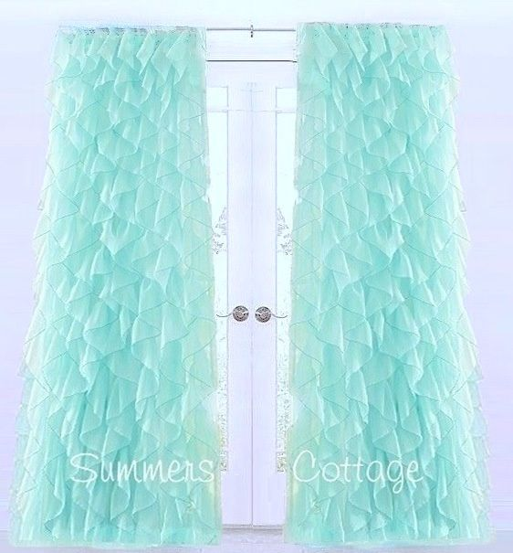 Shabby Beach Cottage Chic Aqua Dreamy Ruffled Curtain Drape Panels