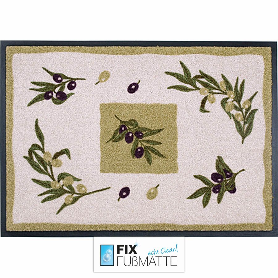 Design-Fußmatte Easy Clean mit Olive-Square Motiv. Waschbar und trocknergeeignet. Für den Innen-und Außenbereich geeignet.