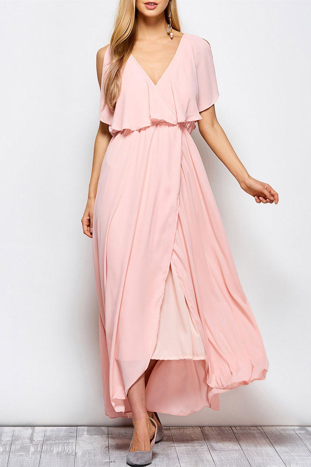 plunge neck ruffles maxi surplice dress pink dresses