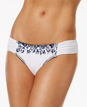 Lucky Brand Stitch In Time Side-Tab Hipster Bikini Bottoms - White L