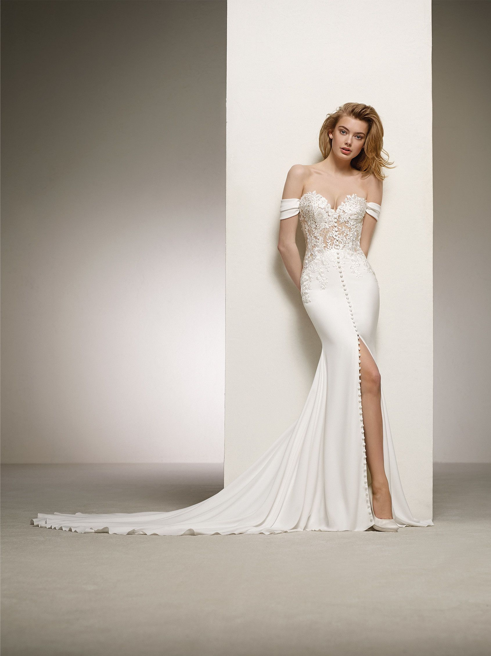 cf402d4546a Pronovias 2018 Style DANZA A fabulous design with front buttons