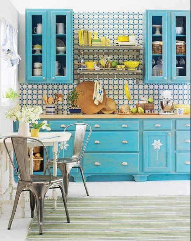 Bright Kitchen With Geometric Wallpaper