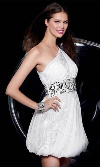 Chiffon A-line One Shoulder Short Formal Dresses FSAU1409P800849 - formalsydney.com