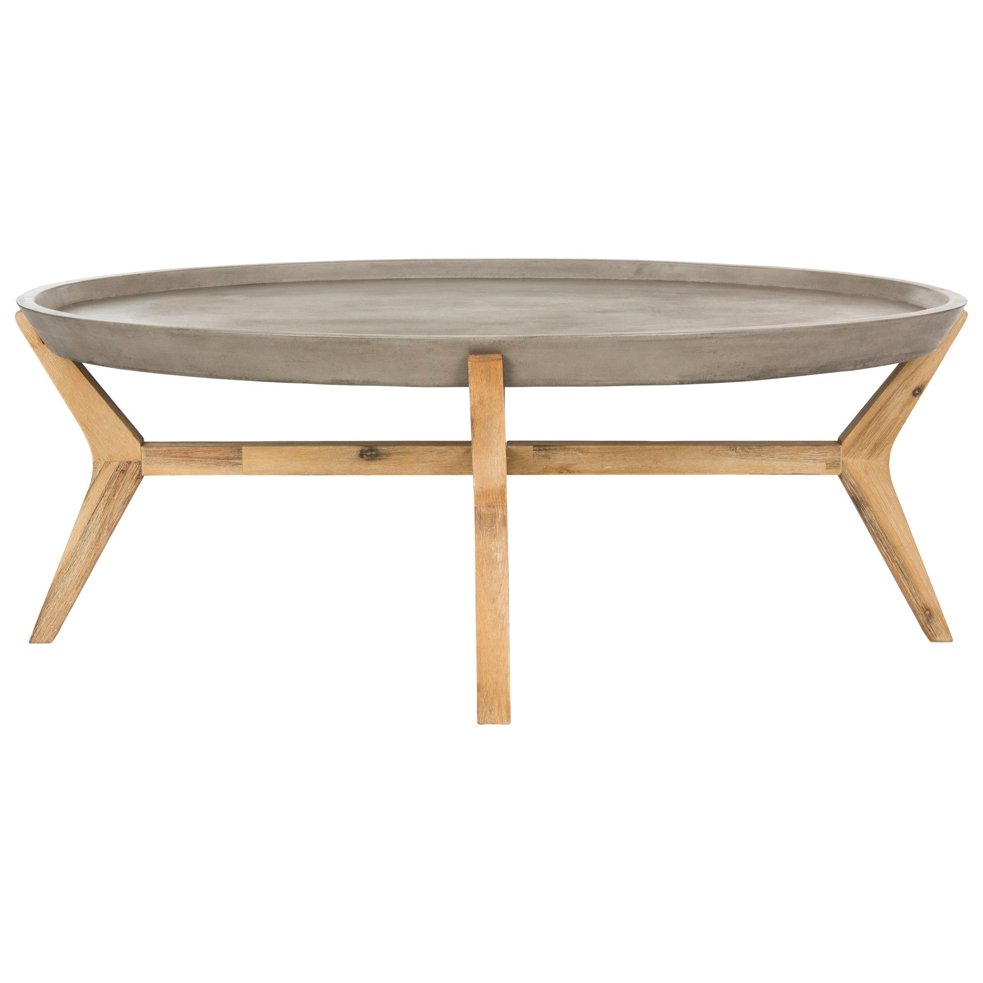 Hadwin Modern Concrete Oval Dia Coffee Table Dark Gray