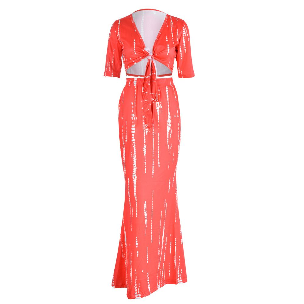 Click to buy ucuc women two piece outfits new summer red crop
