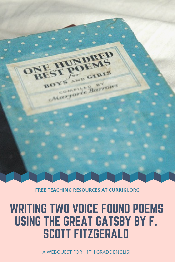 great free high school languagearts lesson writing two voice found poems using the great. Black Bedroom Furniture Sets. Home Design Ideas