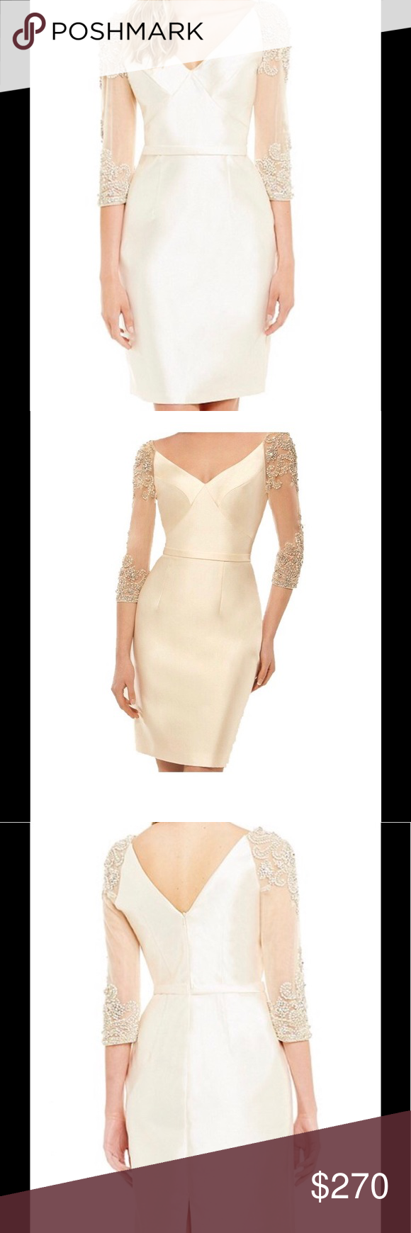 Event/Special Occasion Dress portrait neckline 3/4 sheer embellished crystal and pearl sleeves seam detailed bodice tailored mikado pencil skirt back zipper closure polyester hand wash Lasting Moments Dresses Wedding