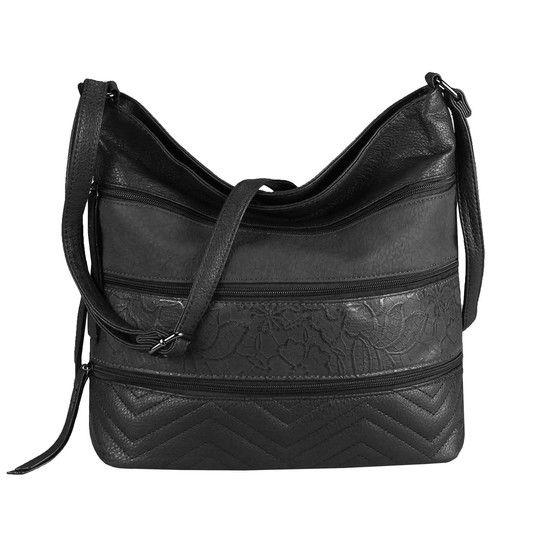 Photo of OBC women bag flowers shopper tote bag handbag shoulder bag shoulder bag bucket bag leather look hobo crossbody black 31x32x12 cm