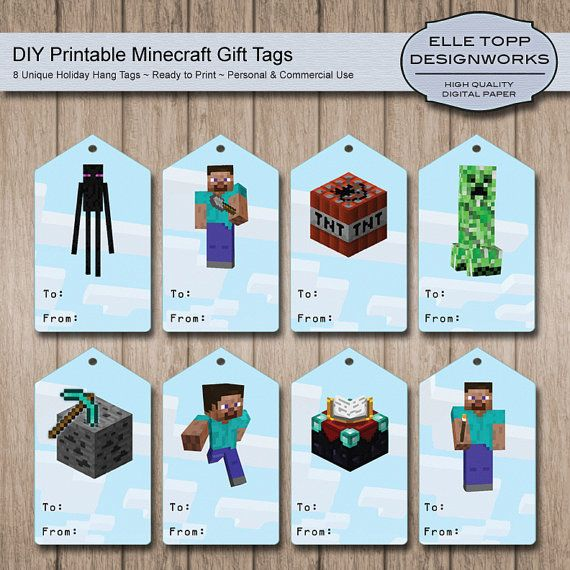 photograph regarding Free Printable Hang Tags known as Minecraft Present Tags - Do it yourself Printable Dangle Tags for Minecraft