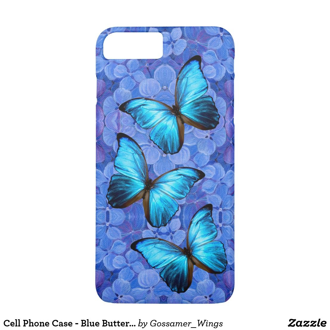 Cell phone case blue butterfly hydrangeas iphone