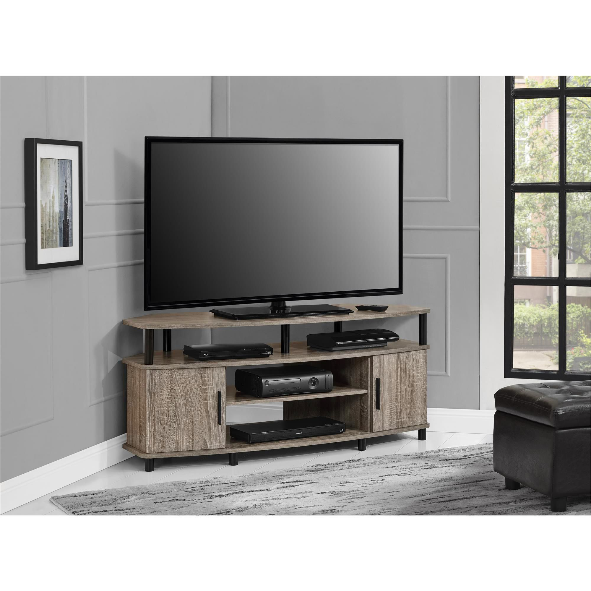 Dorel home furnishings carson distressed gray oak corner tv stand