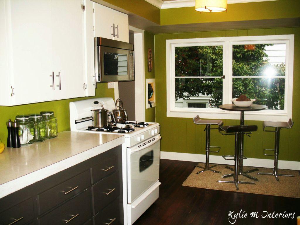 painting bottom cabinets dark! | Green kitchen walls ...