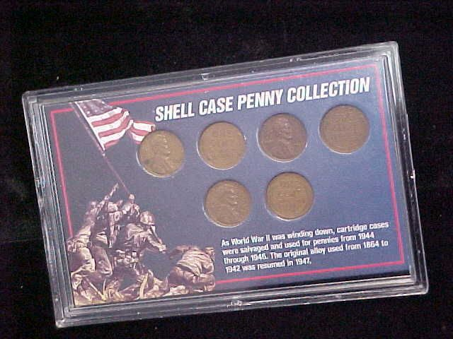 Shell Case Penny Collection Lincoln Wheat Cents WWII 5 Piece