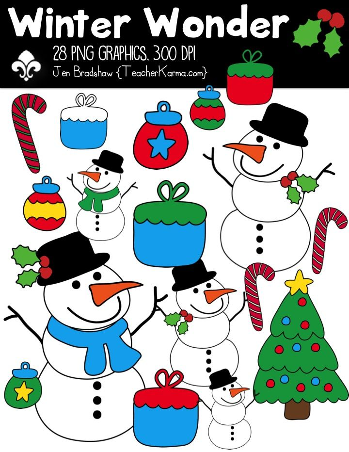 winter wonder clipart commercial use ok christmas winter rh pinterest com Printable Clip Art for Teachers free holiday clipart for teachers