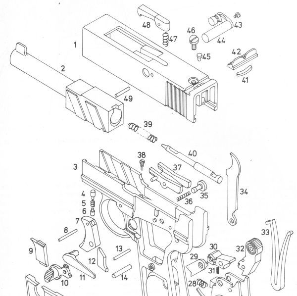 Exploded parts diagram of the Webley Scott automatic