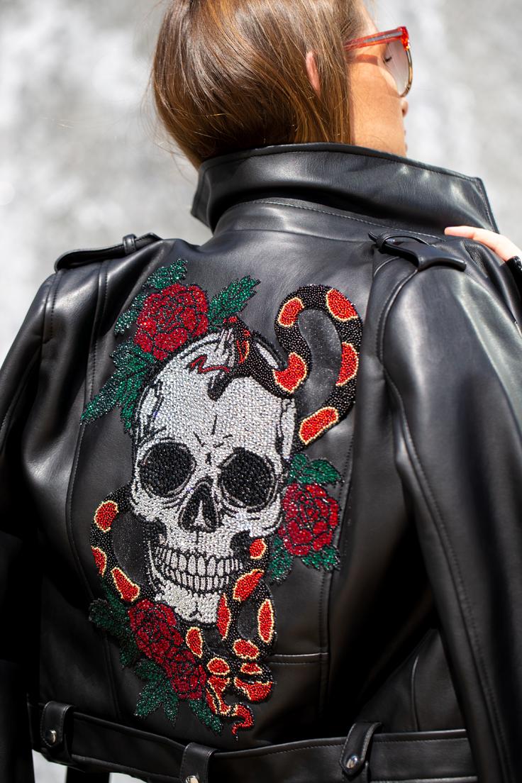 Crystal Skull & Roses Biker Jacket Halloween Gift