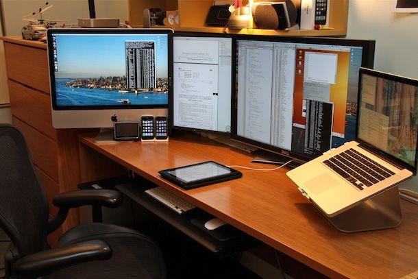 Mac Setups Imac Macbook Pro External Monitors Ipad Iphone Home Office Setup Office Setup Mac Setup