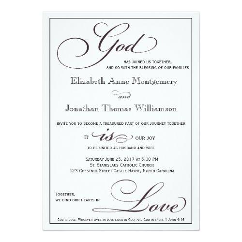 Christian Wording For Wedding Invitations: God Is Love Christian Script Wedding Invitation