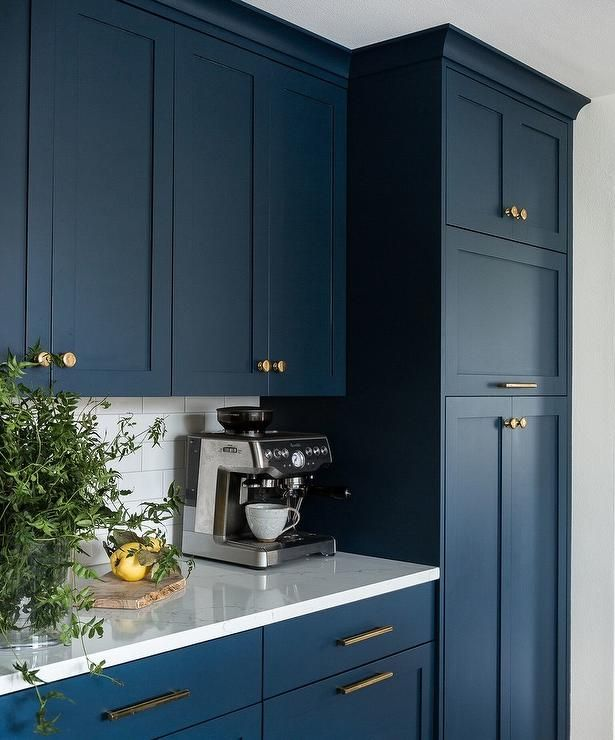 White Kitchen Cabinets To Ceiling: Floor To Ceiling Blue Pantry Cabinets Are Accented With