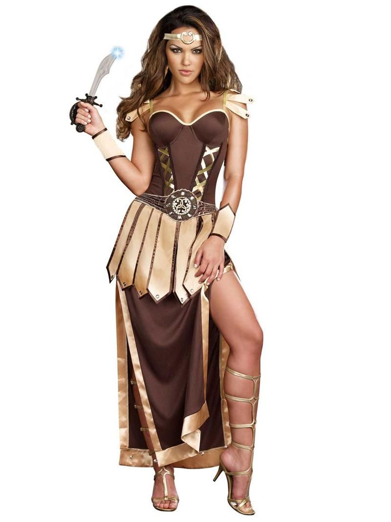 44cdc84f8ab78 Trojan Warrior Adult Costume - Dreamgirl pair with Gold Knee High Goddess  Sandals