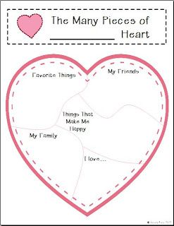 Valentine\'s Day - The Many Pieces of My Heart Writing Templates and ...