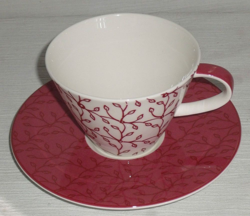 Villeroy And Boch Cup Saucer Set Caffe Club Floral Berry Mug New